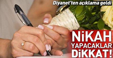 Diyanet nikah işlemlerinde yeni dönemi açıkladı! Nikah işlemleri artık nasıl yapılacak?