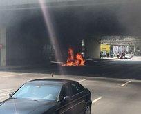 D-100de araç yangını! Trafik durdu