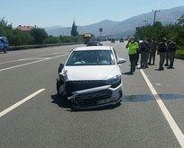 Polis memuru ve ailesi kazada yaralandı