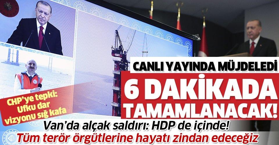 1915 Çanakkale Köprüsü'nde sona doğru! Başkan Erdoğan müjdeledi:  6 dakikada tamamlanacak