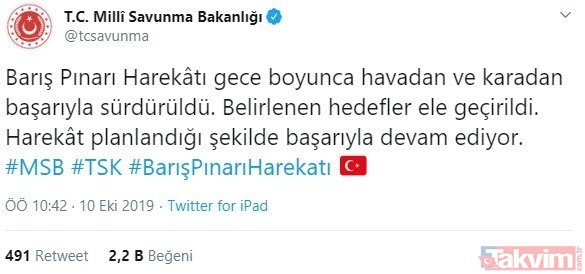 MSB duyurdu: Barış Pınarı Harekâtı'nda belirlenen hedefler ele geçirildi