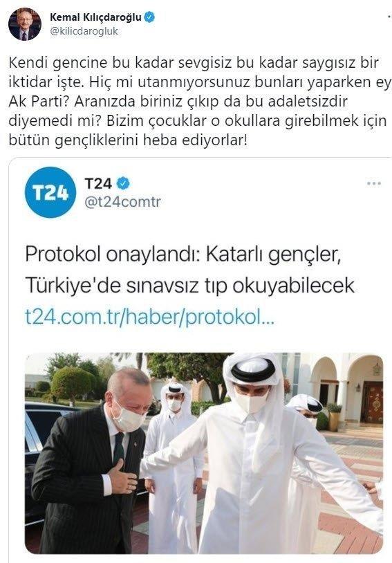 Aşağılık Katar yalanını devam ettiren CHP'li Kemal Kılıçdaroğlu'na sert tepki: Sende hiç utanma yok mu? - Takvim