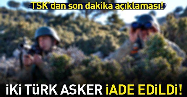 Gözaltına alınan Türk askeri iade edildi