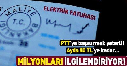 2.5 milyon haneye ayda 80 TL'ye varan elektrik desteği! PTT'ye başvurmak yeterli...