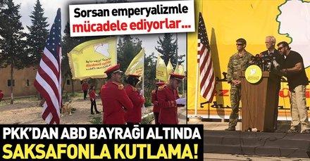 YPG'lilerden ABD bayrağı altında saksafonlu kutlama