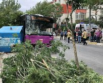 Avcılar'da halk otobüsü kaza yaptı