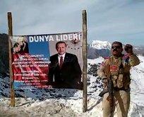 Terör örgütünden temizlenen bölgeye Başkan Erdoğan'ın posteri asıldı