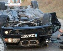 TEM'de lastiği patlayan otomobil takla attı!