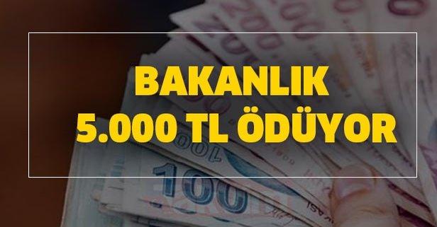 Bakanlık 5.000 TL ödüyor
