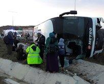 İstanbul'da yolcu otobüsü devrildi
