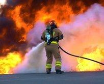 Pistten çıkan uçakta yangın