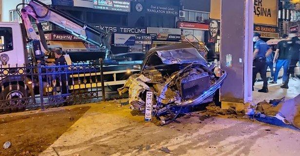 Beşiktaş'ta feci kaza! Paramparça oldu