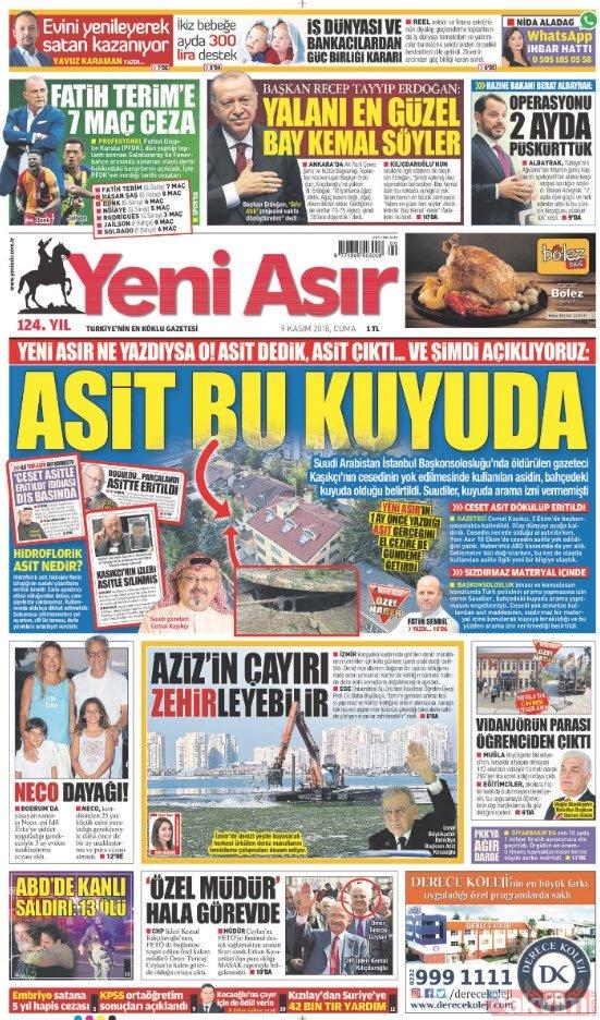 Günün öne çıkan gazete manşetleri | 9 Kasım 2018 Cuma