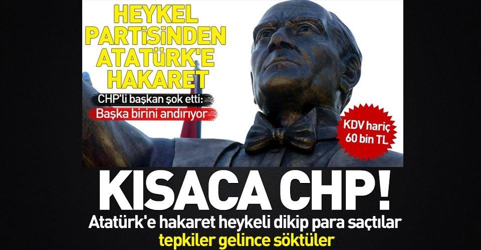 Atatürke benzemeyen heykelde düzeltme çalışması