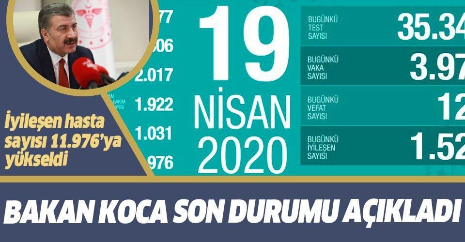 Sağlık Bakanı Fahrettin Koca 19 Nisan koronavirüs vaka ve vefat sayılarını açıkladı