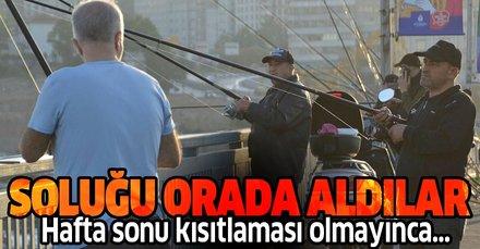 Hafta sonu kısıtlama olmayınca vatandaş soluğu Unkapanı Köprüsü'nde aldı!