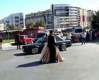 Düğün konvoyunda şoke eden görüntü