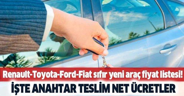 Renault-Toyota-Ford-Fiat sıfır yeni araç fiyat listesi!