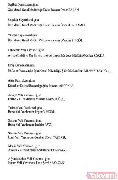 Görev yerleri değişen 471 Mülki İdare Amiri'nin isim listesi ve yeni görev yerleri