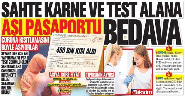 Sahte karne ve test alana aşı pasaportu bedava