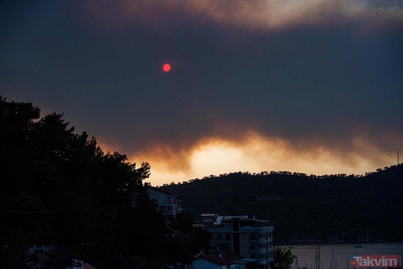 Göcek'teki yangının çevreye verdiği zarar kameraya böyle yansıdı