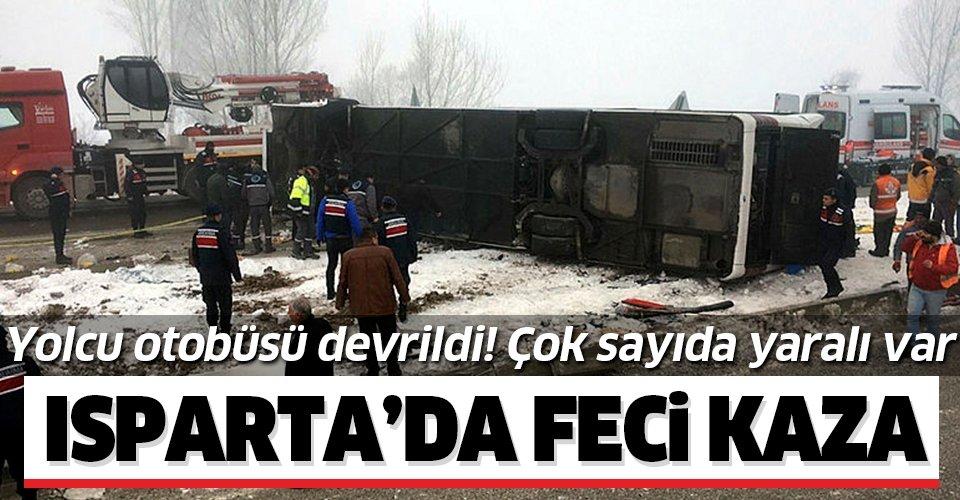 Son dakika: Isparta'da yolcu otobüsü devrildi! Çok sayıda yaralı var