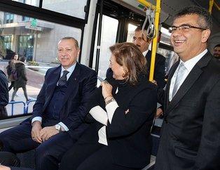 Erdoğan, TEMSA'nın elektrikli otobüsü ile Mabeyn Köşkü'ne gitti