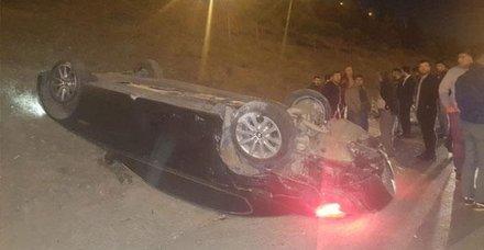 TEMde feci kaza! Arkasındaki araç çarptı, otomobil takla attı