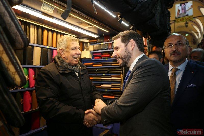 Bakan Albayrak Kapalıçarşı esnafını ziyaret etti