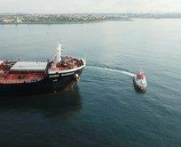 Kaza yapan gemiler havadan görüntülendi