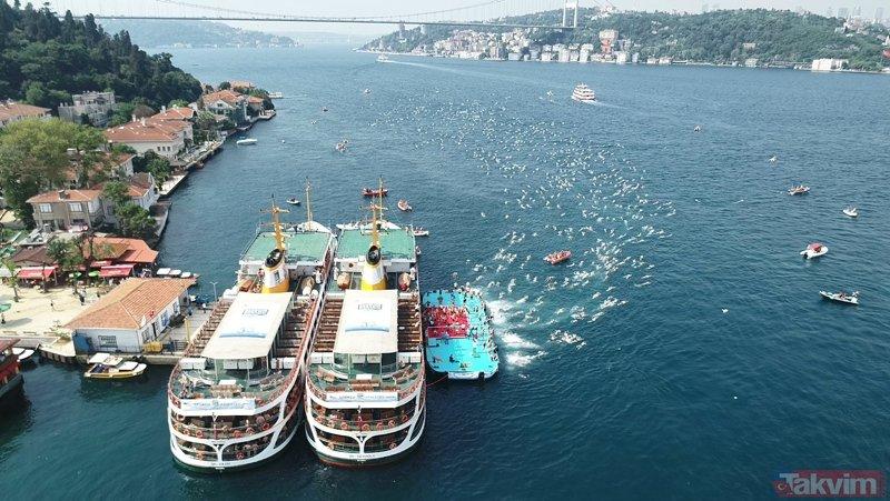 İstanbul Boğazında 30. Boğaziçi Kıtalararası Yüzme Yarışması nefes kesti