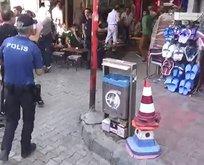 Polise demir tabure attığı anın videosu ortaya çıktı!