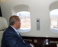 Başkan Erdoğan o çalışmaları havadan inceledi