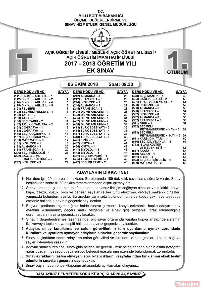2018 MEB AÖL sınav soruları ve cevapları yayınlandı!Açık Öğretim Lisesi (AÖL) 1.Oturum ve 2. Oturum soru-cevapları