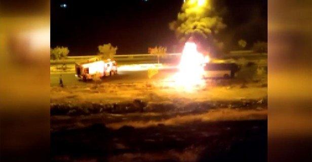İşçileri taşıyan otobüste yangın çıktı