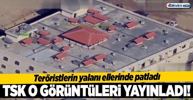 TSK vuruldu denilen hastanenin görüntülerini paylaştı