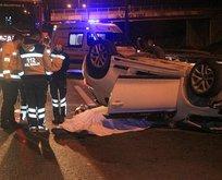 TEM'de feci kaza: Kamyona çarpıp takla attı
