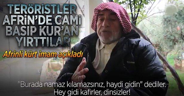 PYD/PKK Afrinde camileri basıp Kuran-ı Kerim yırttı