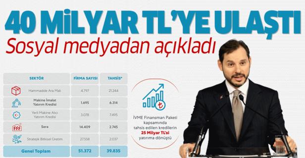 Bakan Albayrak sosyal medyadan duyurdu: 40 milyar TL'ye ulaştı