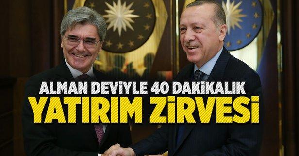 Cumhurbaşkanı Erdoğan ile Alman devden 40 dakikalık yatırım zirvesi