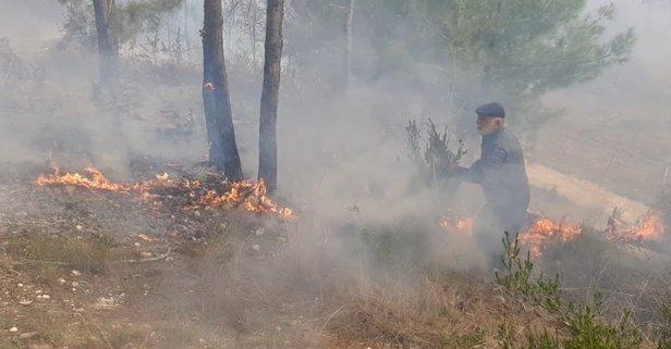 Çıkardığı orman yangınını çalıyla söndürmeye çalıştı