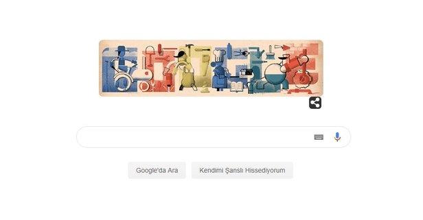 Google Doodle'ında İşçi Bayramı'nı unutmadı!