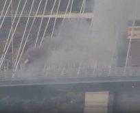 3. köprüde yangın paniği! Trafiğe kapatıldı