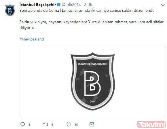 Süper Lig kulüpleri Yeni Zelanda'daki saldırıyı kınadı