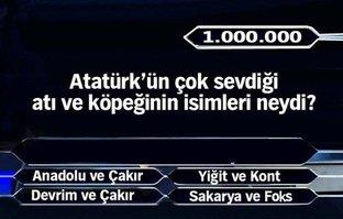 Milyoner'e damga vuran Atatürk sorusu