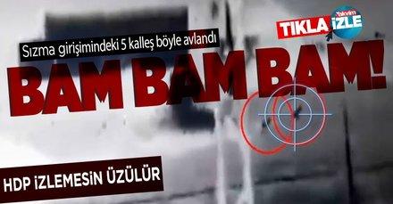 Barış Pınarı Harekatı bölgesinde sızma girişiminde bulunan 5 PKK'lı teröristin vurulduğu anlar ortaya çıktı!