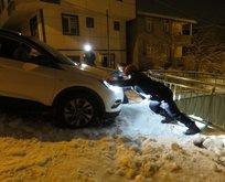 İstanbul'da buz tutan yolda faciadan son anda dönüldü