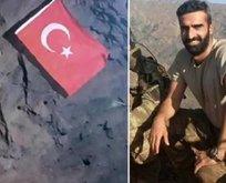 Gara şehidi Karayılan'ın inine Türk bayrağı dikmiş