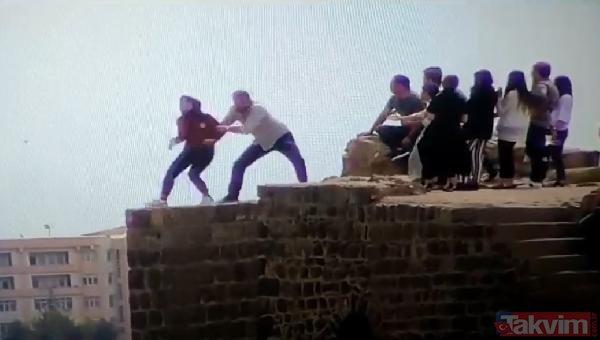 Diyarbakır'ın Sur ilçesinde tarihi surlara çıkan genç kız korkuttu! Tam atlayacakken...