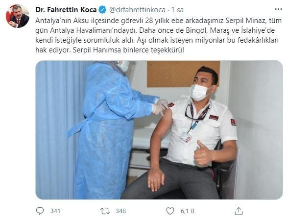 Sağlık Bakanı Fahrettin Koca, Serpil Minaz'a fedakarlığından ötürü teşekkür etti 14